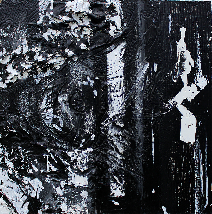 Black and white abstract painting by artist Anthony Paul Olson. Very thick paint creates a textured surface