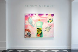 "Painting by Kenny Scharf hanging on gallery wall underneath sign that says ""Kenny Scharf"". Painting a bottle of cleaner called Handy Andy against a pink and purple sky."