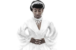 Detail of photograph by Ayana V. Jackson. African American woman wearing white dress, pearl earrings, and lace necklace stands with hands held across waist and eyes closed.