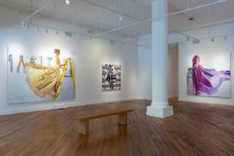 Installation photo of Kelly Reemtsen show. Three paintings hanging on gallery wall