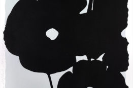 Donald Sultan print. Minimalist black poppies with white center against grey background