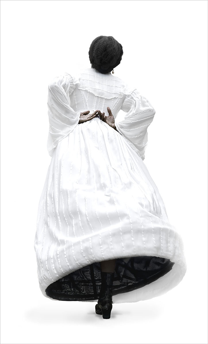 Ayana Jackson, Stella, photograph of African American woman in a long white dress
