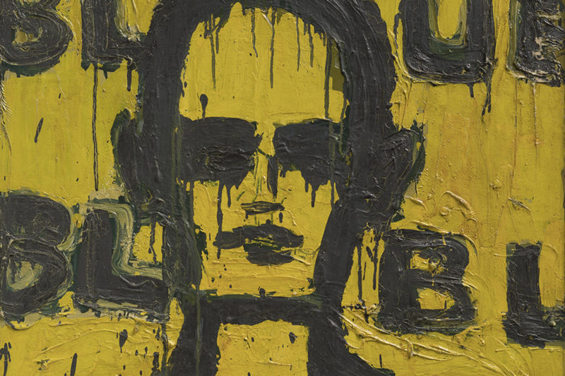 Lester Johnson, black outlined figure with yellow background, the word blue written in the background
