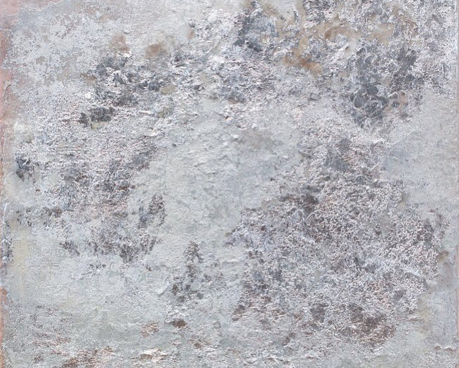 Textured, metallic silver painting by Rosalind Tallmadge
