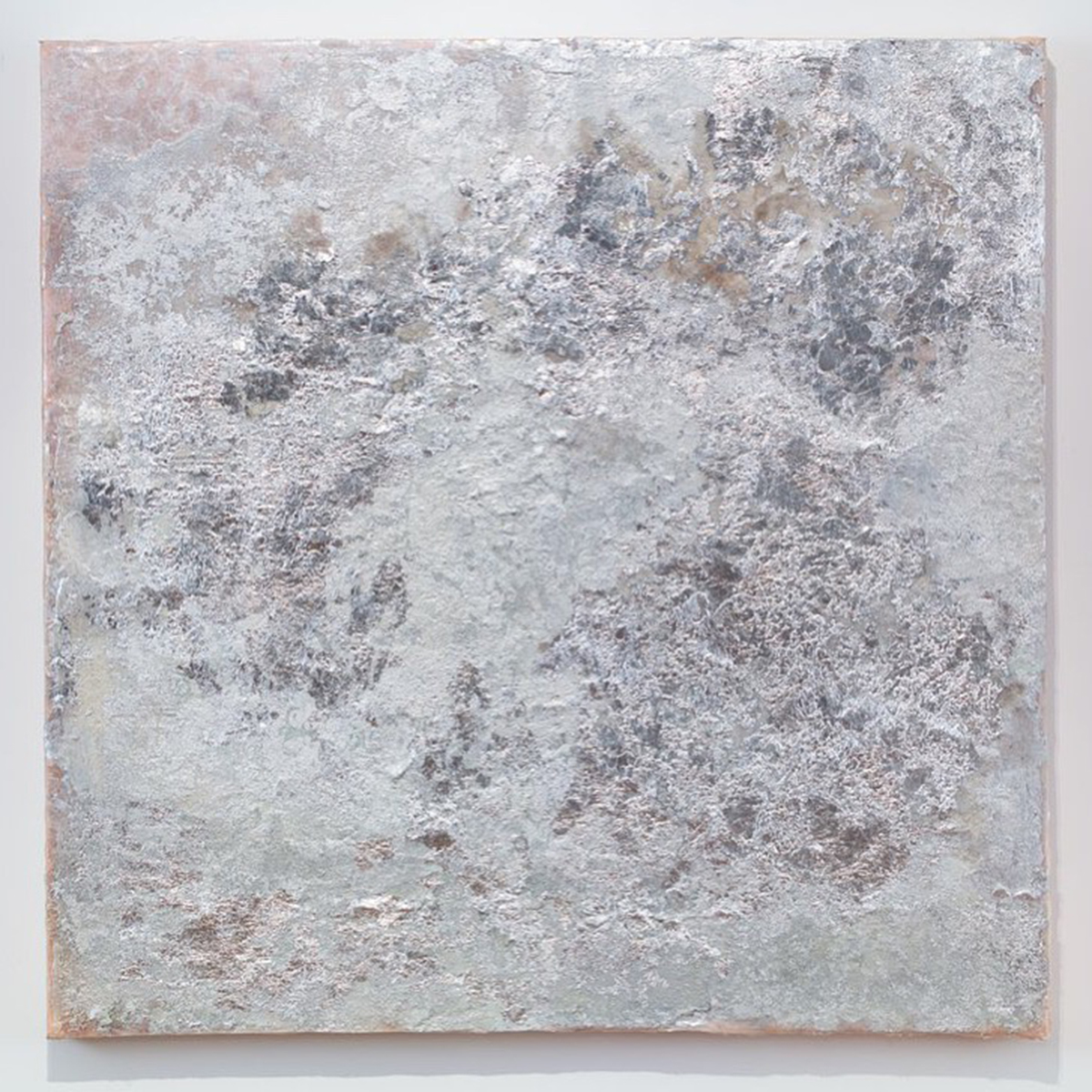 Metallic, textured silver painting by Rosalind Tallmadge