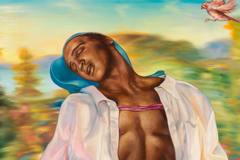 Detail of Jamie Adams painting. Black man leaning back with closed eyes. Blurred background of trees and sky. Small red bird flying in upper right corner